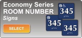 braille ADA room number signs economy series