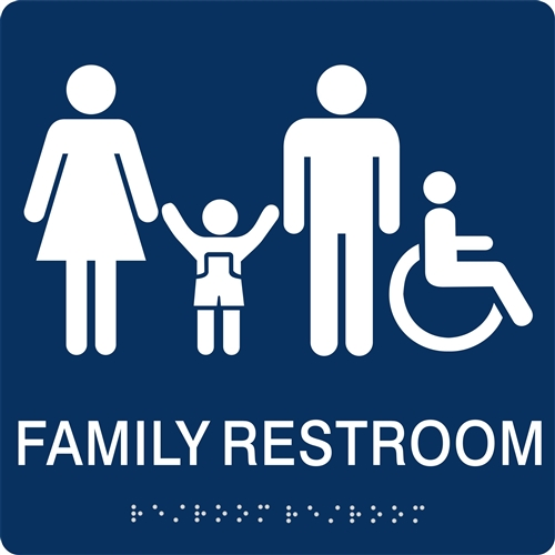 Family Restroom Braille Sign To Meet Ada Requirements For Tactile Signs