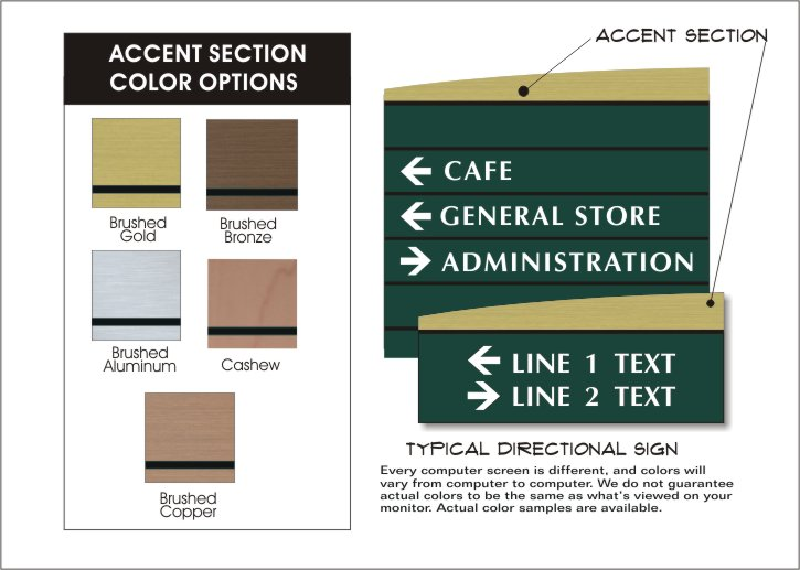 wave directional sign accent colors