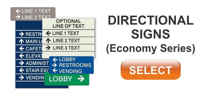 economy series ADA braille directional signs