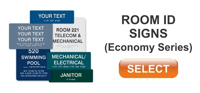 economy series ADA braille room id signs