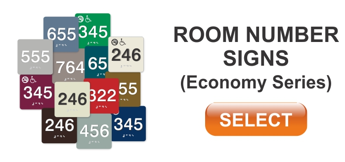 economy series ADA room number sign