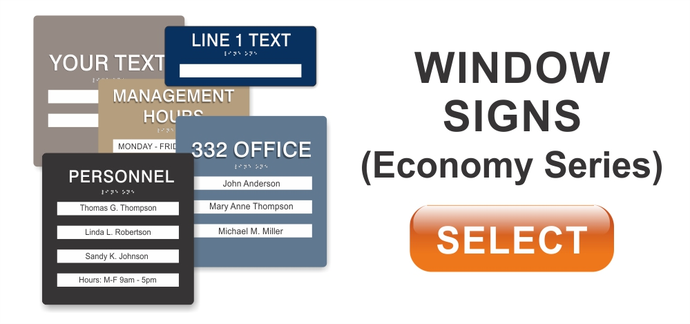economy series ADA braille window signs