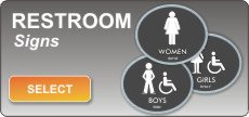 Elliptical series ADA braille restroom signs