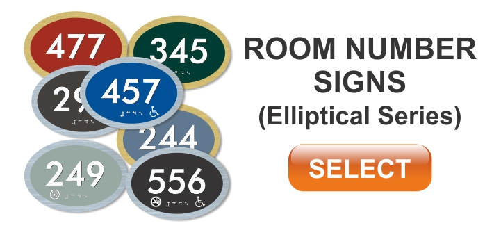 elliptical series ADA room number sign
