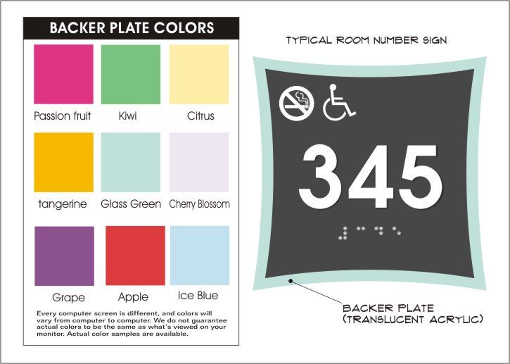 urban series plate colors for room number signs