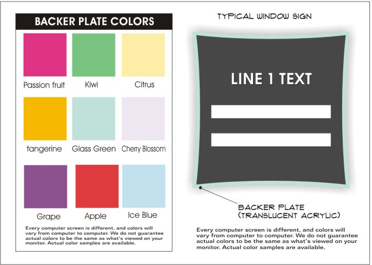 urban series plate colors for window signs