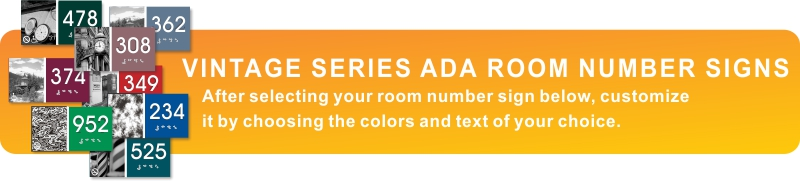 vintage series ADA braille room number signs