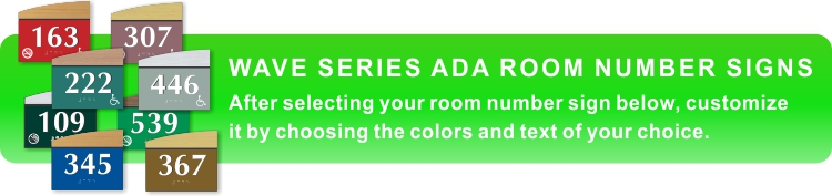 wave series ADA braille room number signs