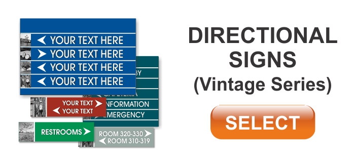 vintage series ADA braille directional signs
