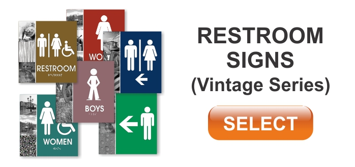 vintage series ADA restroom sign