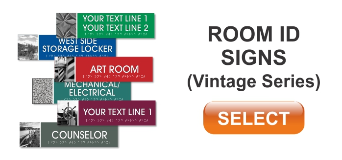 vintage room id signs