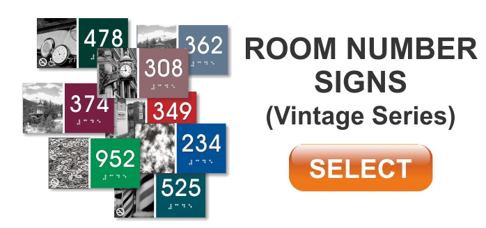 vintage series ADA room number sign
