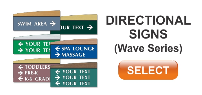 wave series ADA braille directional signs