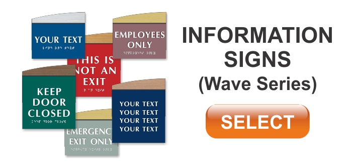 wave series ADA braille informational signs