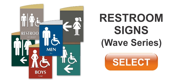 wave series ADA restroom sign