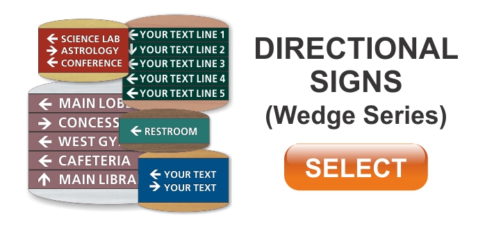 wedge series ADA braille directional signs