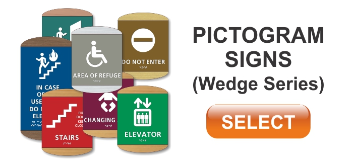 wedge series ADA braille pictogram signs