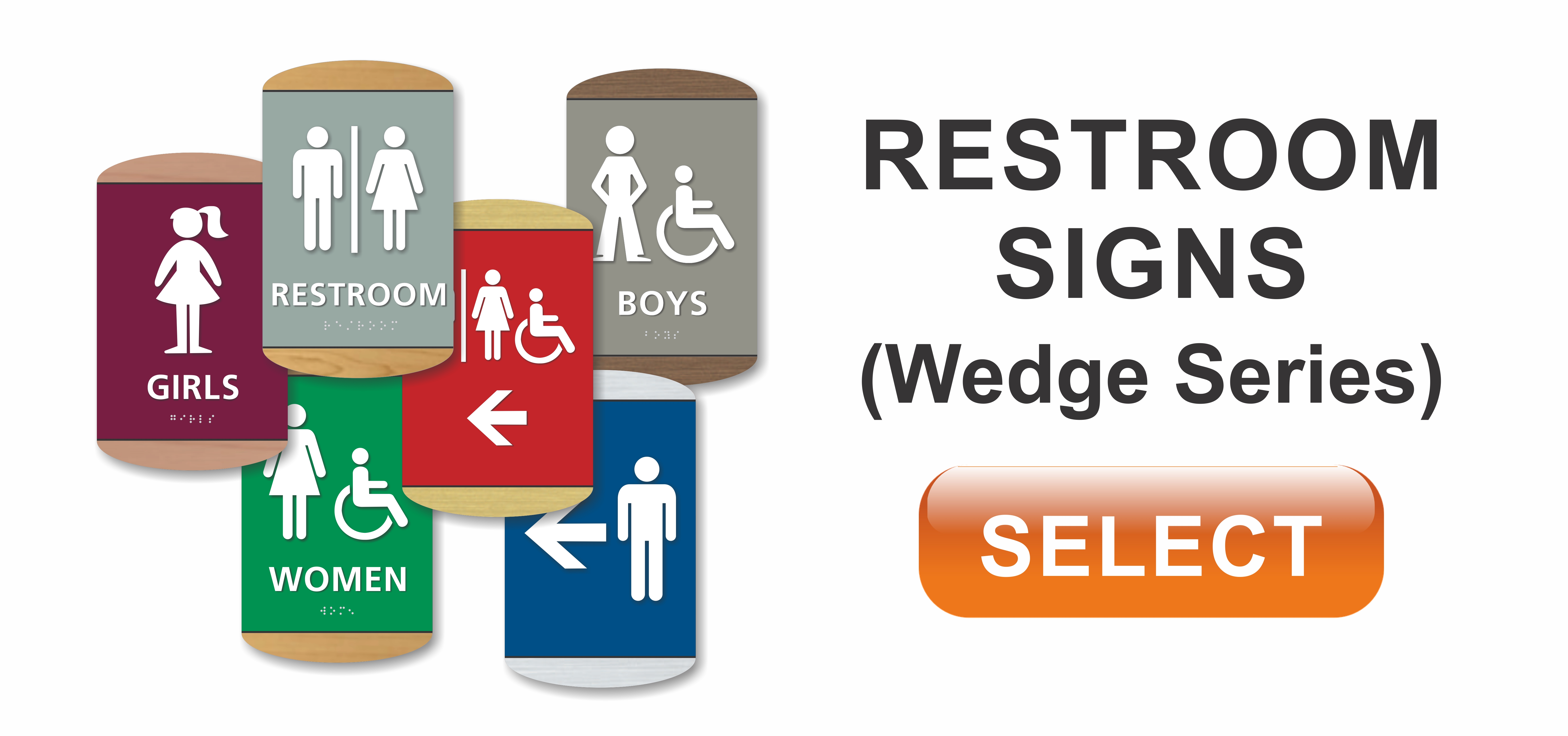 wedge series ADA braille restroom signs