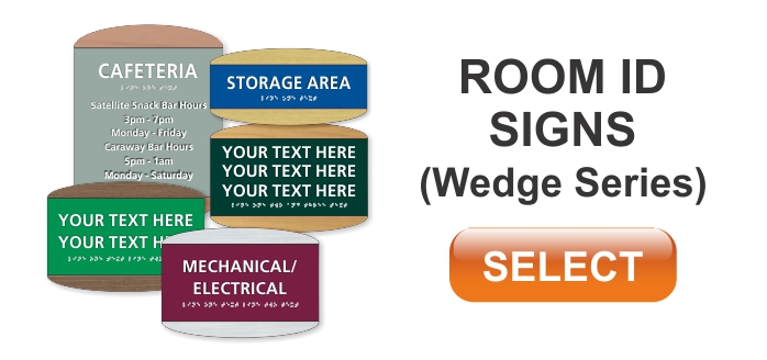 wedge series ADA braille room id signs